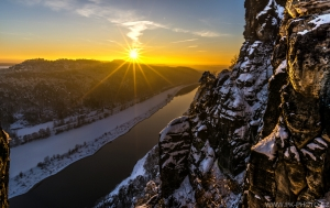 západ slunce nad kaňonem Labe