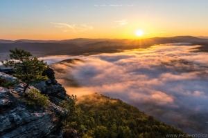 kouzlo podzimních východů slunce v Saském Švýcarku